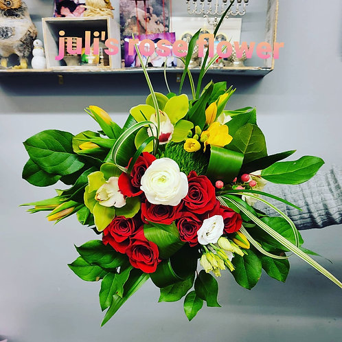 BQ 12 (Red and Green flower bouquet)
