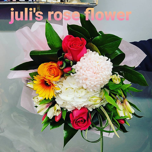 SB 2 (Roses, Commercial mum, and filler flower bouquet)