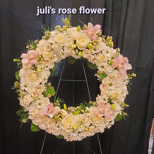 FN 11 (Pink & white funeral wreath)