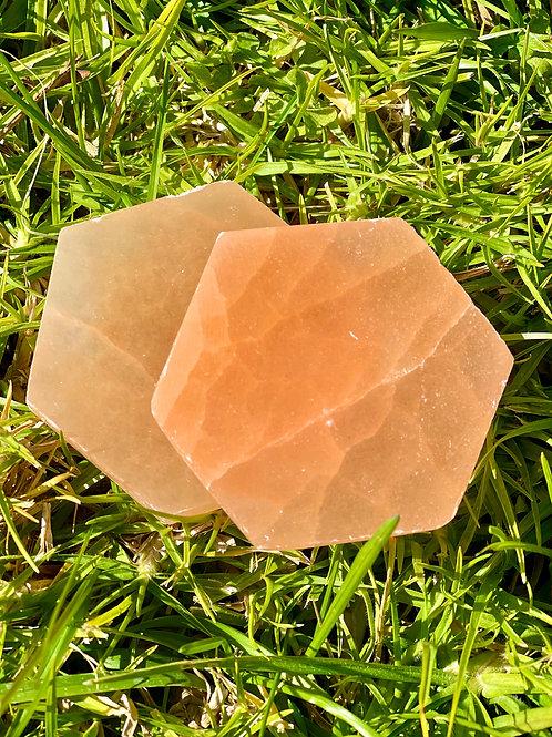 Peach Selenite Hexagon Plate