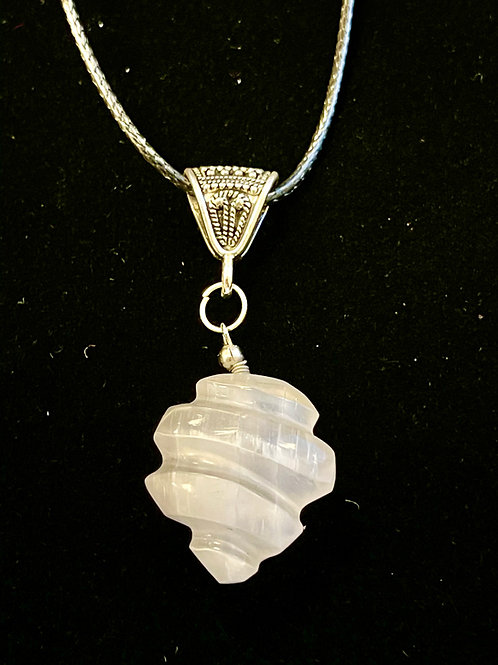 Wave Selenite Pendant (with cord)