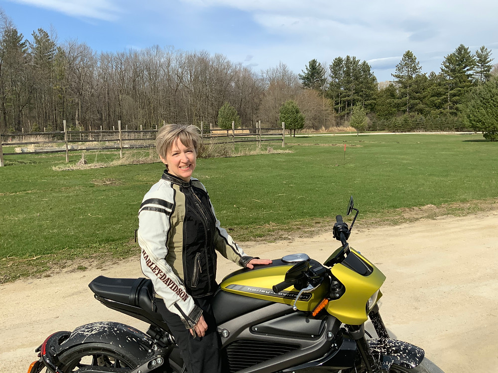 Rachel Schneider with her H-D LiveWire electric motorcycle