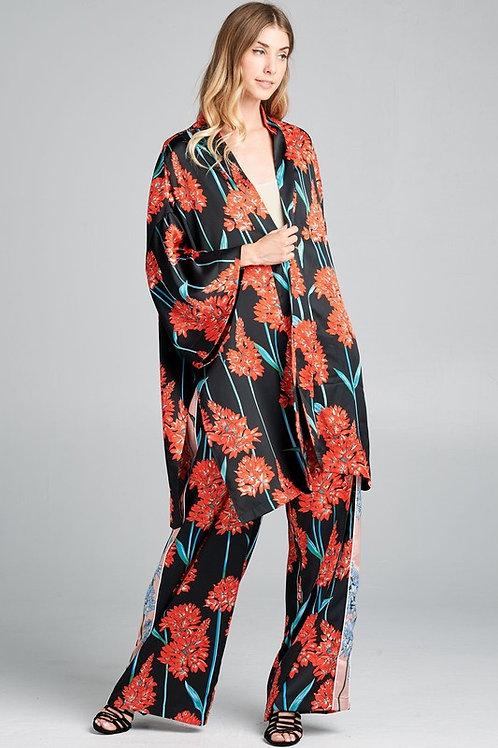 Red Floral Satin Kimono set