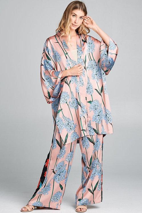 Blush Satin Kimono set