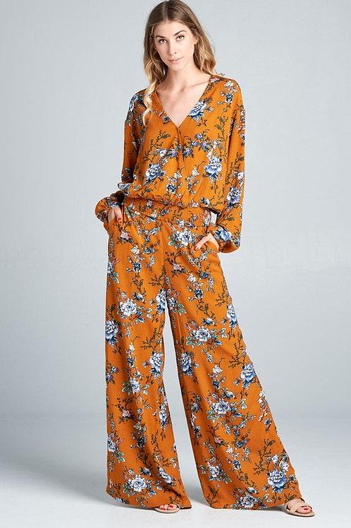 Floral print orange set