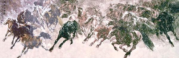 1999年冬为克林顿总统绘制驰骋风雪图.JPG