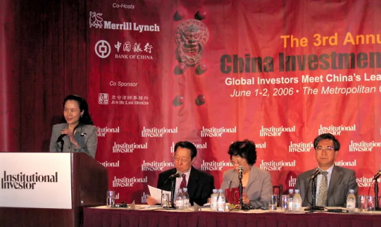 Elizabeth B. Wang speaks at the China In