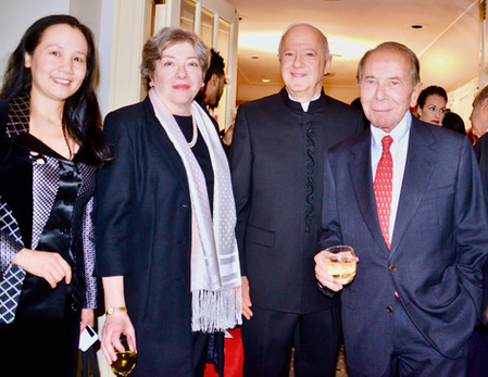 """Elizabeth B. Wang, Founder of the Chinese Cultural Foundation with Florence Davis, President of The Starr Foundation,  Steve Orlins, President of the National Committee on United States-China Relations, and Maurice R. """"Hank"""" Greenberg, Chairman of The Starr Foundation and The C.V. Starr & Co. at the Panda Ball at the Waldorf Astoria Hotel."""