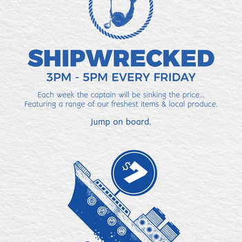 'shipwrecked' specials every friday afternoon