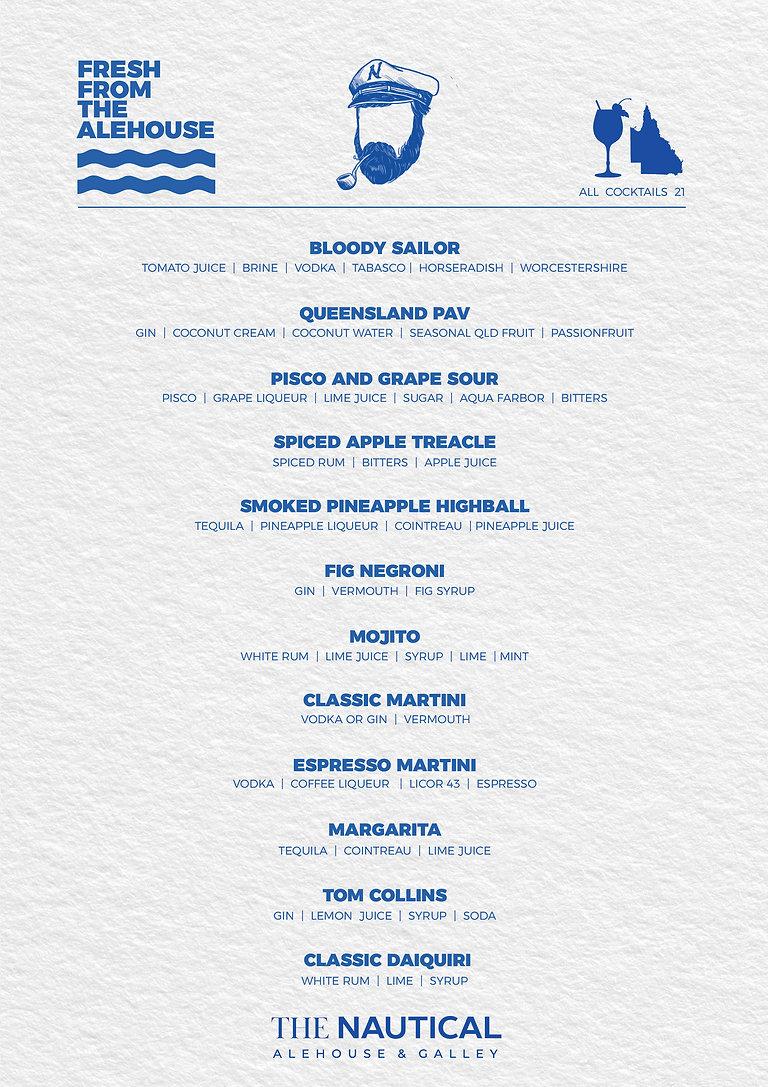 The Nautical Taphouse & Restaurant Cocktails List