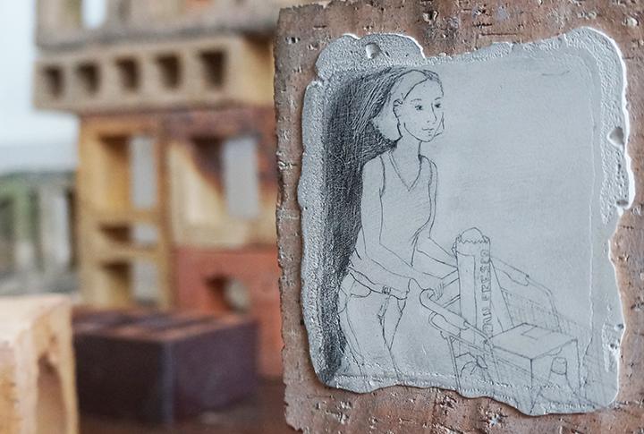 Dibujo sobre el yeso y el cemento