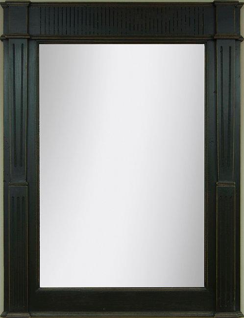 Espejo Moldura Rallada Negro Decapado 120x90cms