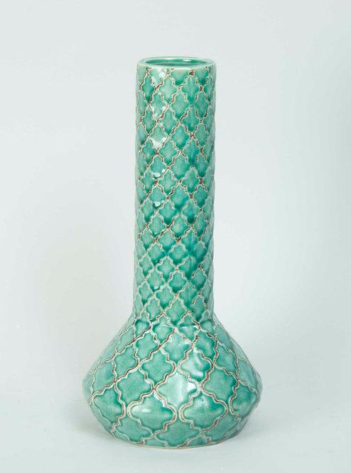 Florero Ceramica Trama Turquesa 23x12
