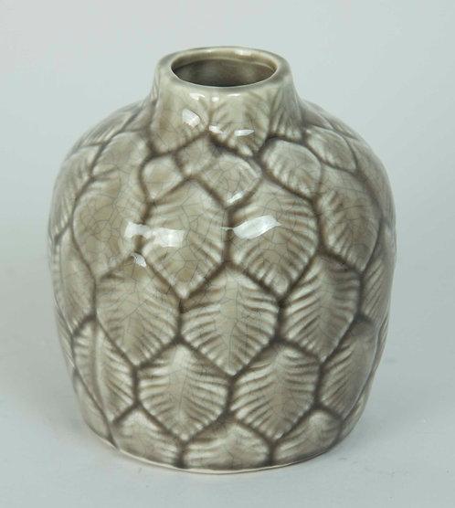 Florero Ceramica Hojas Beige 14x13