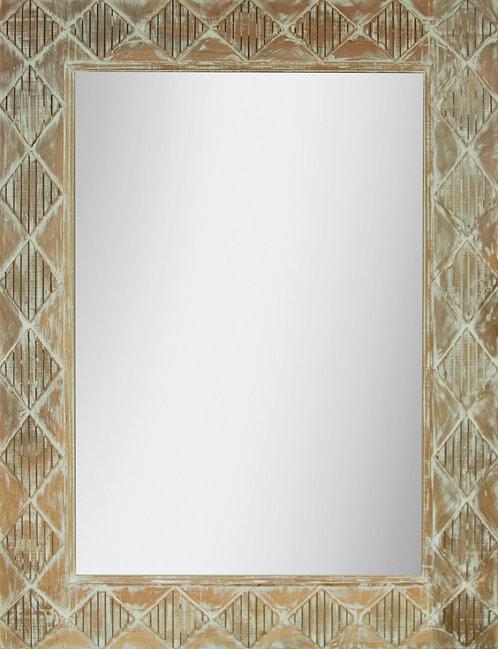Espejo Rombos Blanco Decapado 120x90