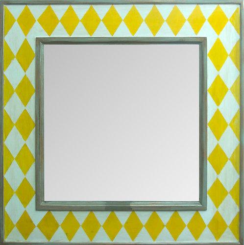 Espejo Rombos Amarillo 90x90