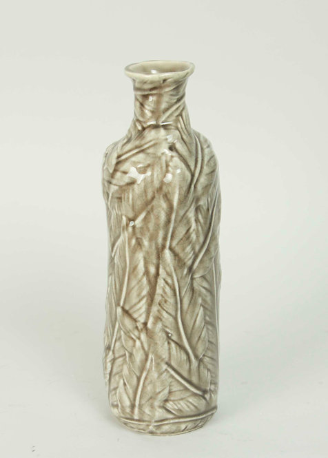 Florero Ceramica Hojas Beige 26x10
