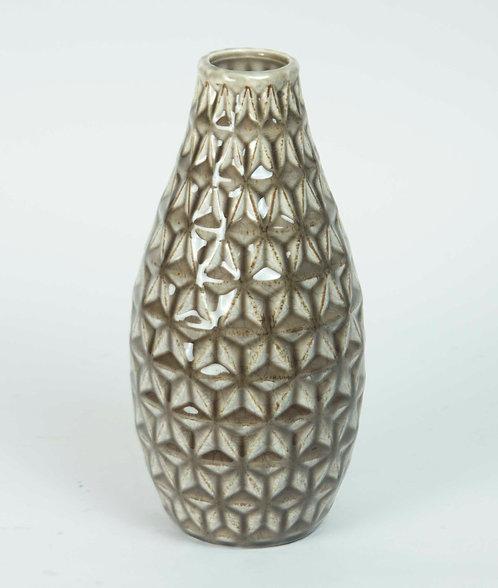 Florero Ceramica Trama Beige 20x12
