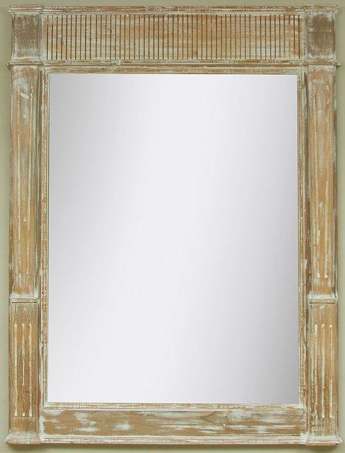 Espejo Moldura Rallada Blanco Decapado 120x90cms