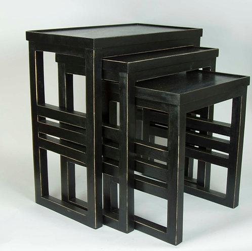 Set Tres Mesas de Apoyo Negras 60x60x30