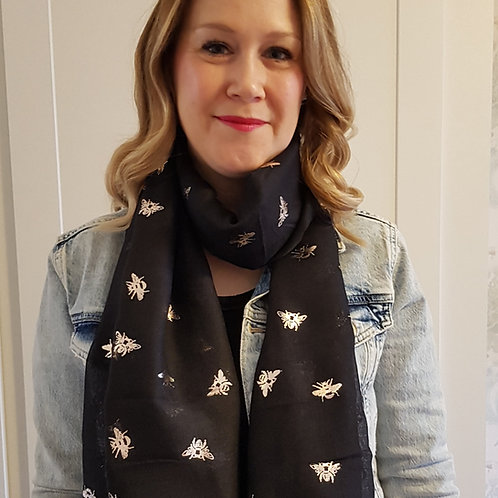 Black Scarf with Rose Gold Foil Bees