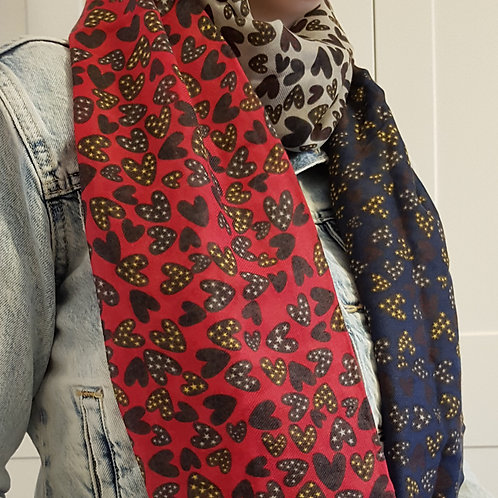 Multi Colour Heart Scarf - Red/Blue