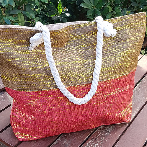 Red/Brown Beach Bag with Metallic Gold Thread