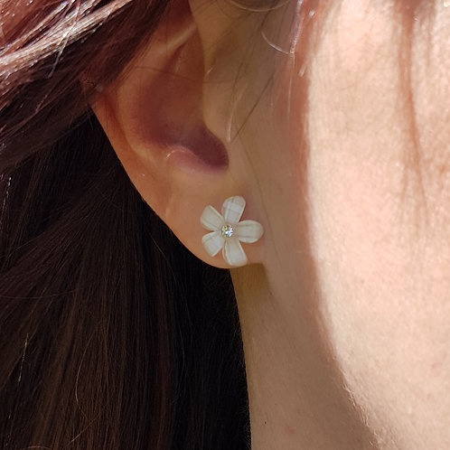 Flower Earrings with Stone Centre