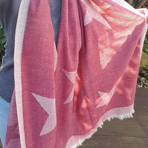 Large Star Print Blanket Scarf - Red
