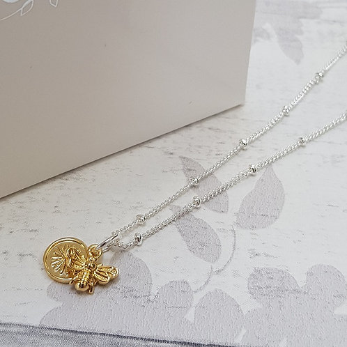 Mini Bee and Flower Necklace - Silver/Gold