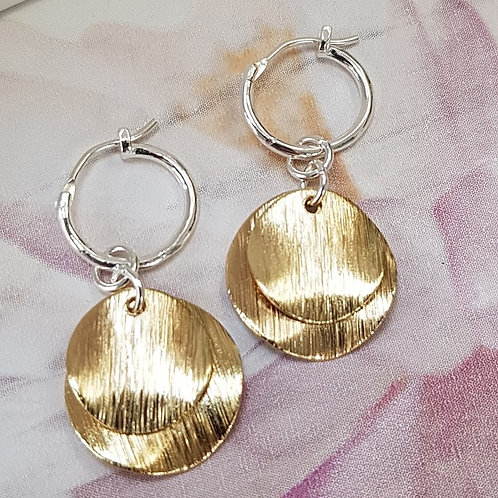 Sterling Silver Hoop Earrings with Gold Disks