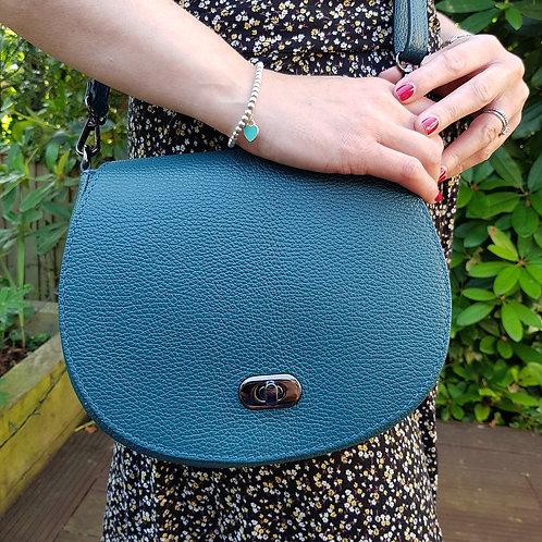 Olivia Italian Leather Saddle Bag - Teal