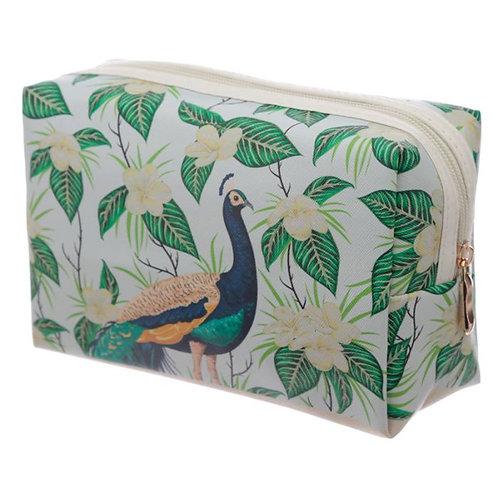 Peacock Print PVC Toiletry Makeup Bag