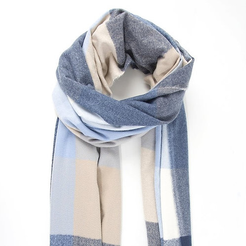 Square Check Print Blanket Scarf - Navy/White (COMING SOON)