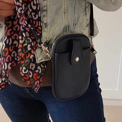 Ruby Leather Mobile Phone Purse - Navy