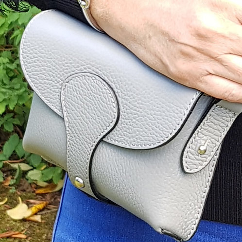 Millie Italian Leather Chest Bag - Light Grey