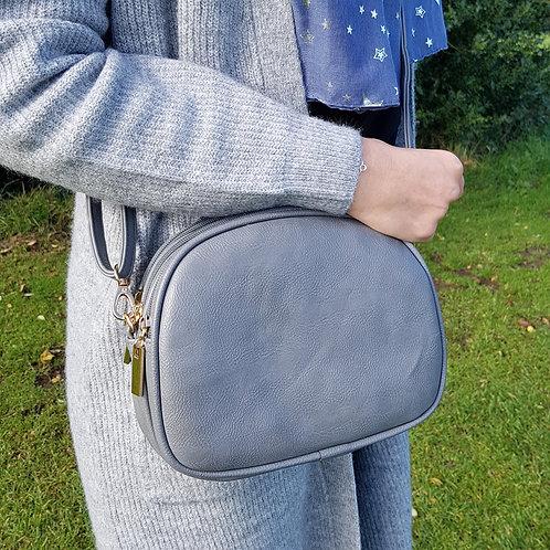 Sarah Cross Body Bag with Triple Zip - Grey