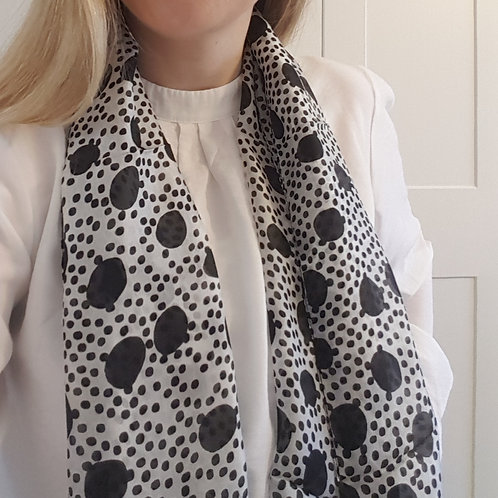 Black and White Multi Spot Silk Scarf