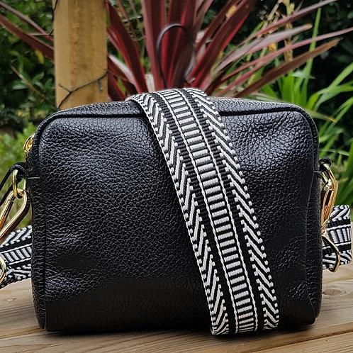 Black & White Ladder/Diagonal Pattern Bag Strap