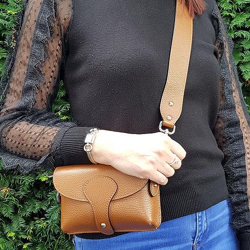 Millie Italian Leather Chest Bag - Tan