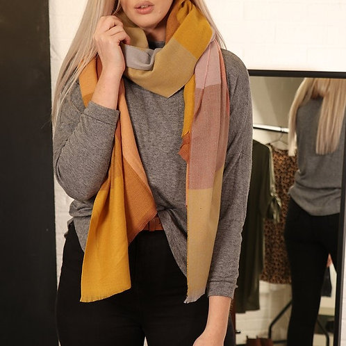 Mustard and Brown Square Check Scarf