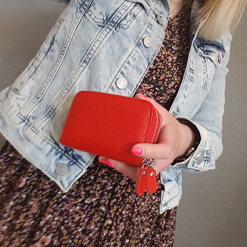 Emily Real Leather Card and Coin Purse - Red