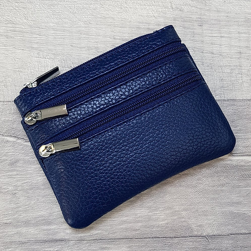 Small Leather Coin Purse - Navy Blue