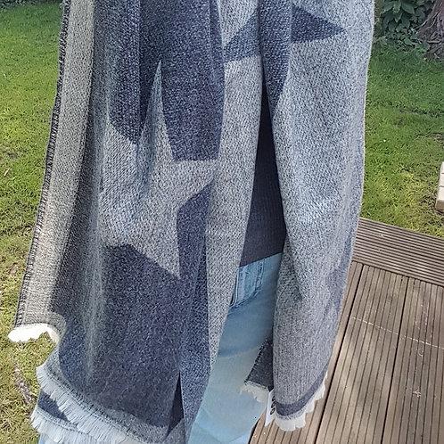 Large Star Print Blanket Scarf - Dark Grey