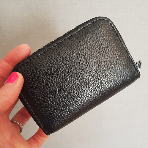 Emily Real Leather Card and Coin Purse - Black