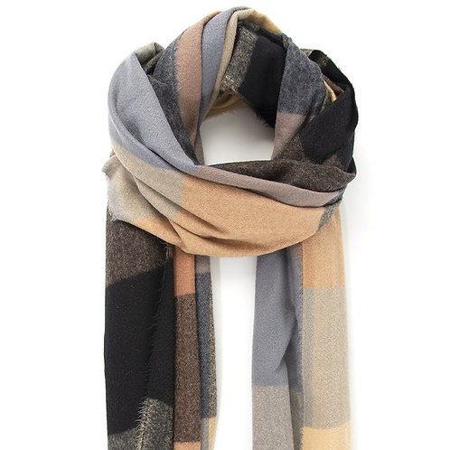 Square Check Print Blanket Scarf - Black/Camel (COMING SOON)