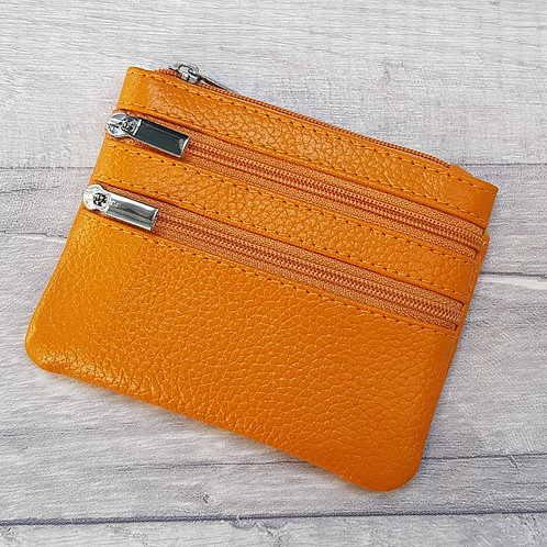 Small Leather Coin Purse - Mustard Yellow