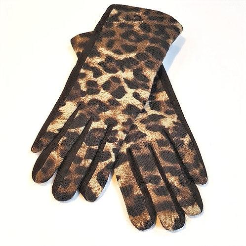 Animal Print Gloves - Taupe/Black