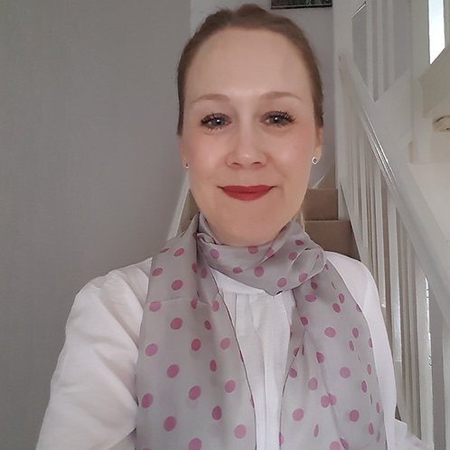Pale Grey Silk Scarf with Pink Polkadots