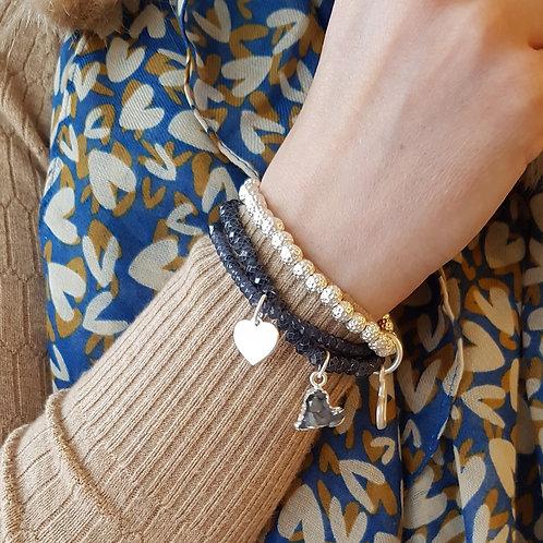 Triple Heart Charm Bracelet
